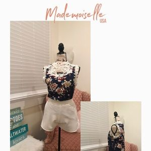 Tops - Lacey navy blue blouse